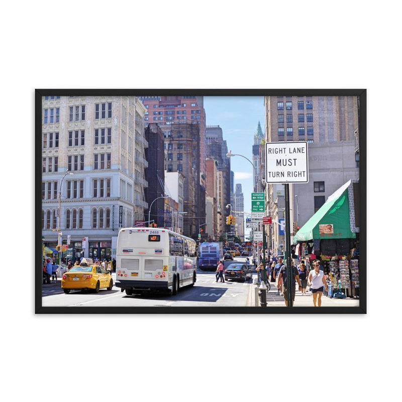 Must Turn Right On Busy Street Framed Art Print - Artouchmedia