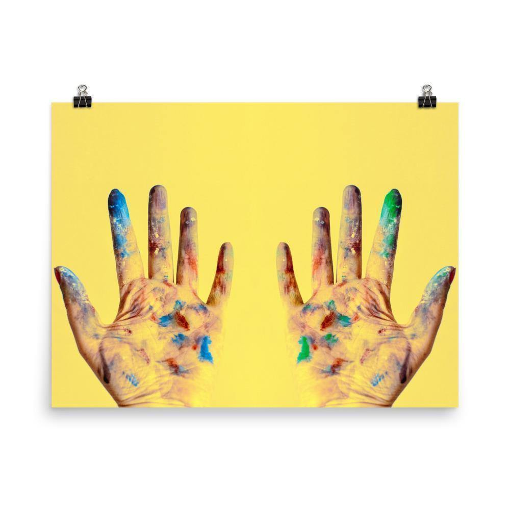 Yellow Hands Lustre Art Print - Artouchmedia