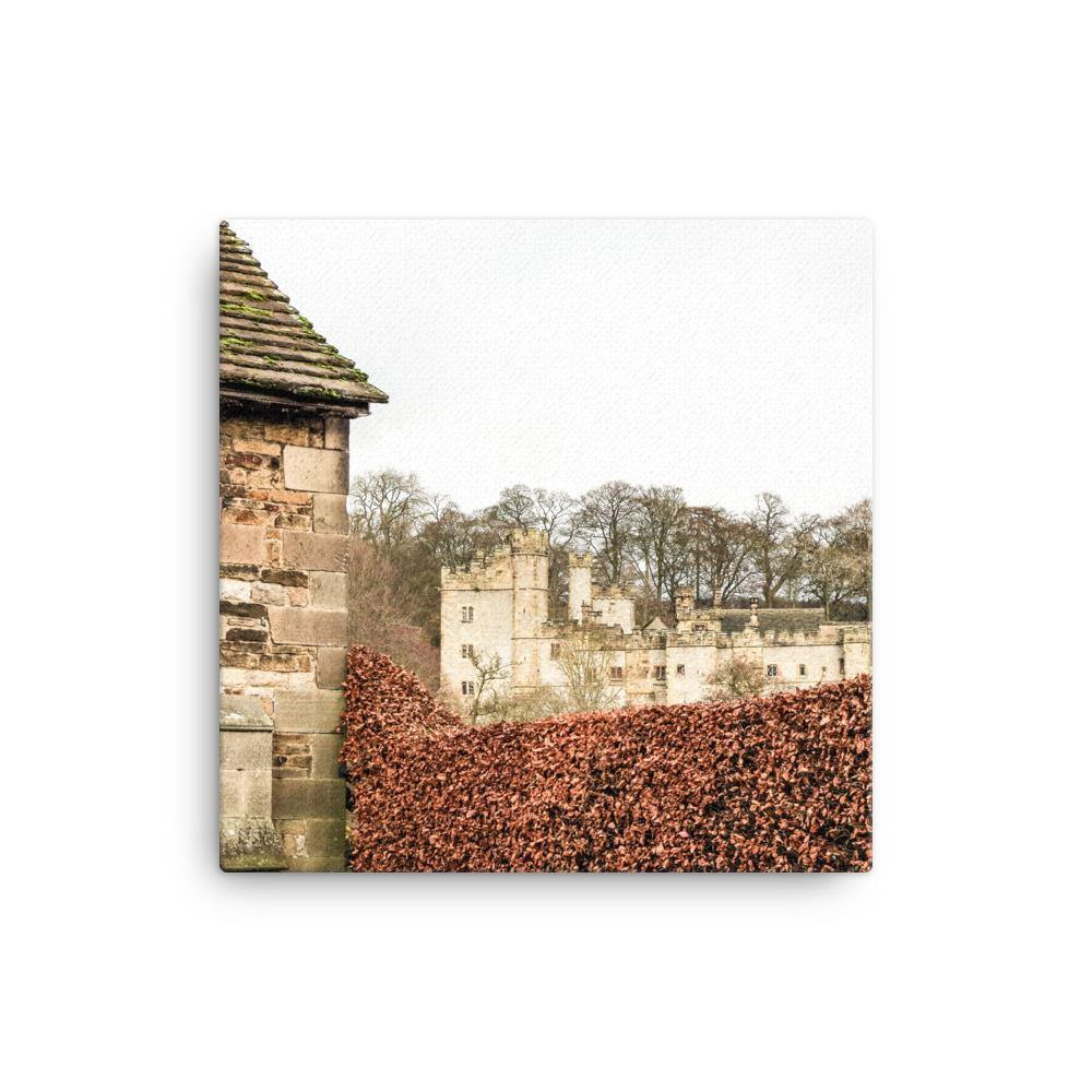Castle Behind The Red Fence Canvas Art Print - Artouchmedia