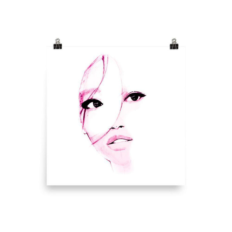 Purple Shadow At Her Face Original Drawing Art Photo Print - Artouchmedia