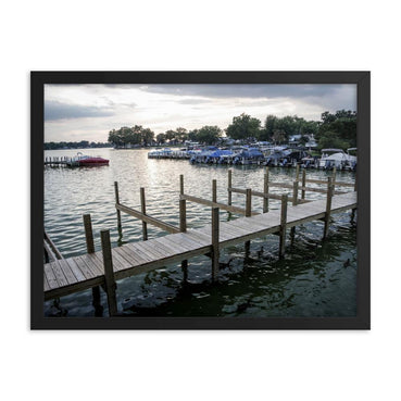 Sunset By The Docks Framed Art Print - Artouchmedia