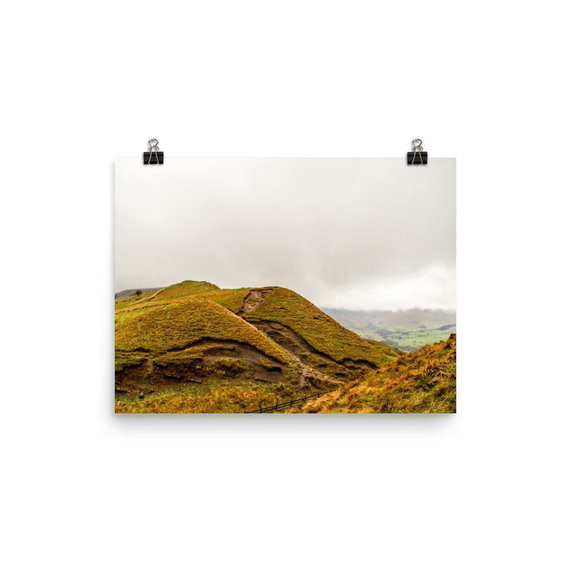 Orange Hill Under The Clouds Luster Art Print - Artouchmedia