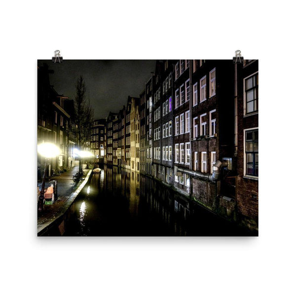 Night Canal In Amsterdam Lustre Art Print - Artouchmedia
