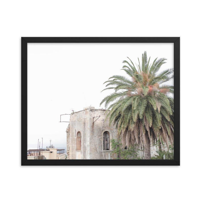Round Palm Tree and Ruined House Framed Art Print - Artouchmedia