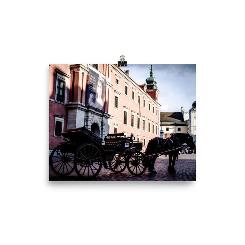 Horse With A Car In Old Town Warsaw Lustre Art Print - Artouchmedia