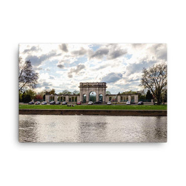 Gate Between Two Trees Canvas Art Print - Artouchmedia