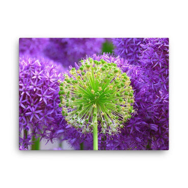 Purple Flower One Green Canvas Art Print - Artouchmedia