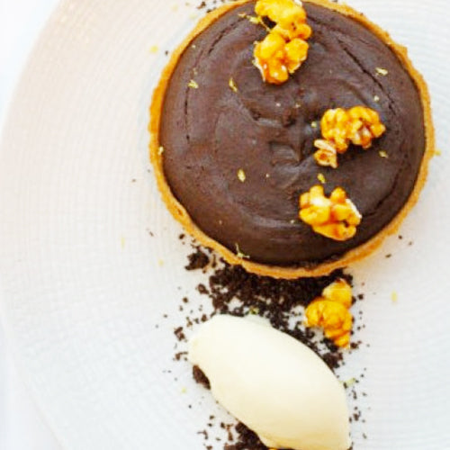 FRIDAY NIGHT DINNERS. Chocolate, malt & espresso tart w/ salted caramel popcorn & creme fraiche