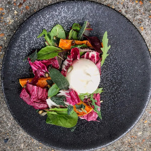 STARTER FOR 2. Creamy burrata salad w/ roasted butternut squash & radicchio- FRI 14/9