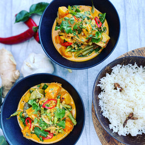FROM THE FREEZER - Meal for 2. Aromatic Thai butternut squash & green bean curry (Vegan)