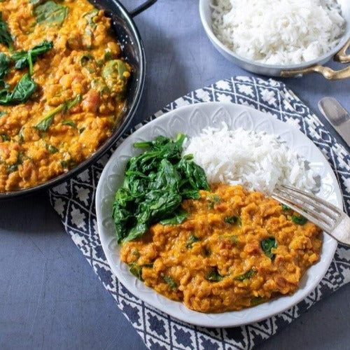 FROZEN MEAL FOR 2. Red lentil dhal w/ coconut & spinach (Vegan & Gluten Free)