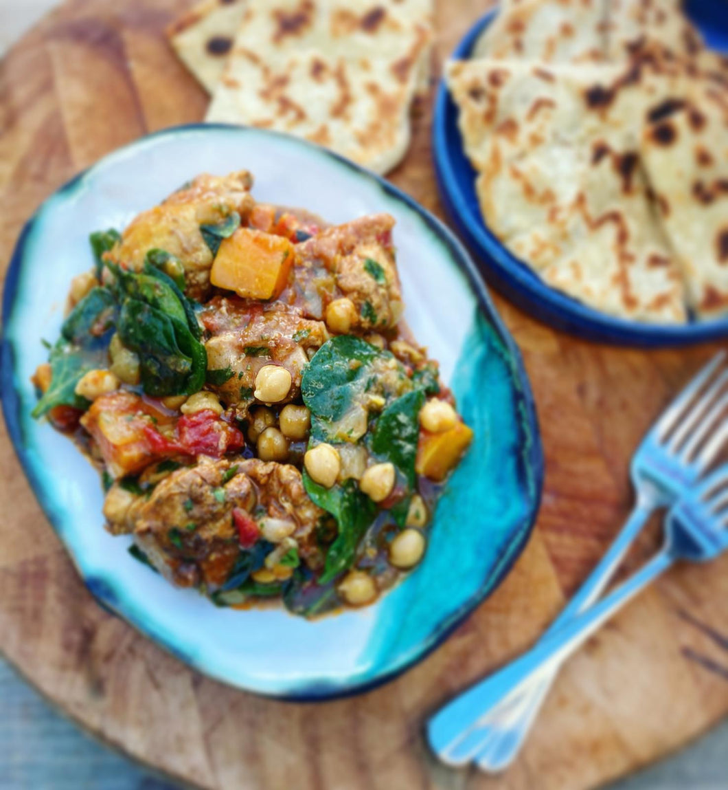 FROM THE FREEZER - Meal for 2. Rich & bold Moroccan chicken, squash & chick pea tagine