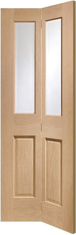 Internal Oak Malton Bi-Fold with Clear Bevelled Glass - C2B Trade Store