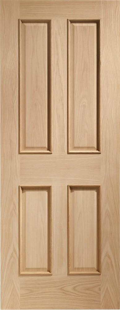Internal Oak Victorian 4 Panel Fire Door with Raised Mouldings - C2B Trade Store