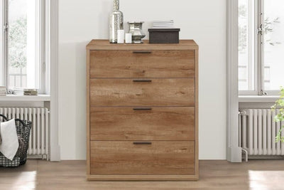 STOCKWELL 4 DRAWER CHEST RUSTIC OAK EFFECT - C2B Trade Store