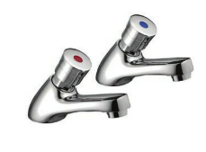 Ebony Push Non-Concussive Basin Taps (pair)