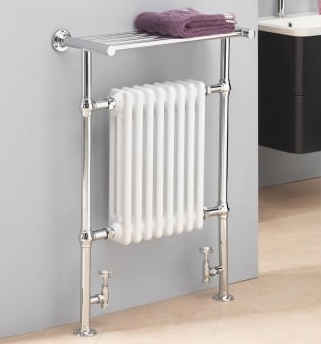 Florence 963x673 Rail with Towel Shelf - Chrome with White Radiator - C2B Trade Store