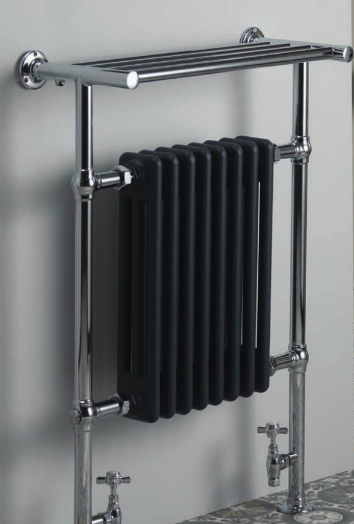 Tuscany 963x673 Rail with Towel Shelf - Chrome with Anthracite Radiator - C2B Trade Store