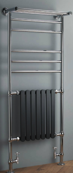 Venetian 1525x630 Rail with Towel Shelf - Chrome with Anthracite Radiator - C2B Trade Store