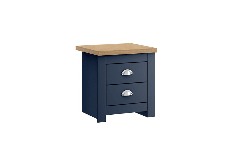 WINCHESTER 2 DRAWER BEDSIDE NAVY BLUE & OAK EFFECT - C2B Trade Store