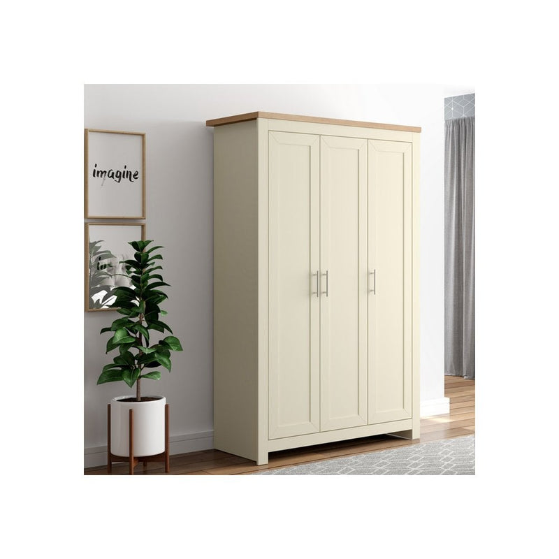 WINCHESTER 3 DOOR WARDROBE CREAM & OAK EFFECT - C2B Trade Store