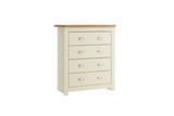 WINCHESTER 4 DRAWER CHEST CREAM & OAK EFFECT - C2B Trade Store