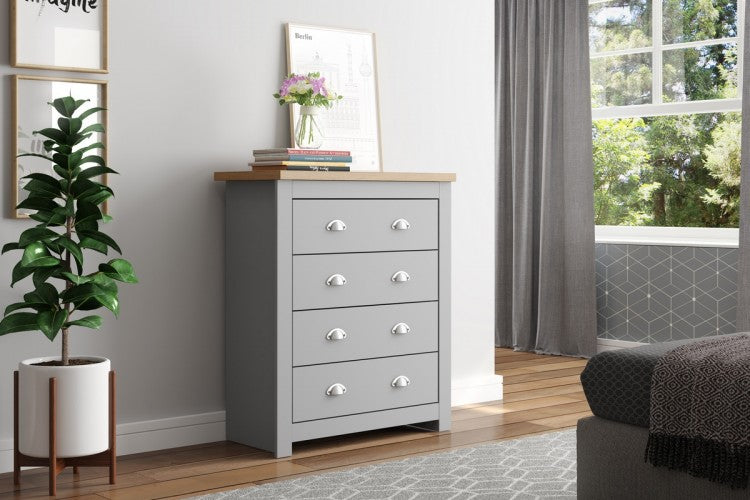 WINCHESTER 4 DRAWER CHEST GREY & OAK EFFECT - C2B Trade Store