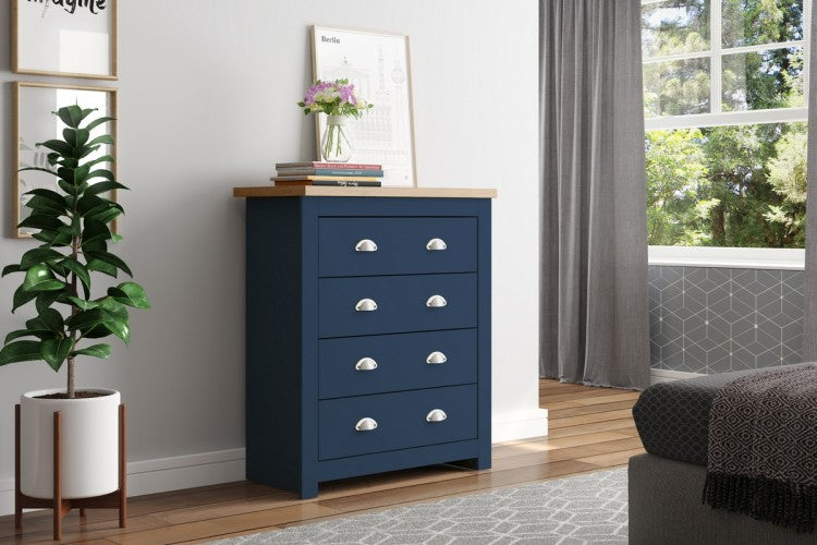 WINCHESTER 4 DRAWER CHEST NAVY BLUE & OAK EFFECT - C2B Trade Store