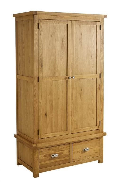 WOBURN 2 DOOR 2 DRAWER WARDROBE OAK/OAK VENEERS - C2B Trade Store