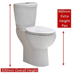 QX Comfort Elevated Close Coupled Pan, Cistern and Soft Close Seat
