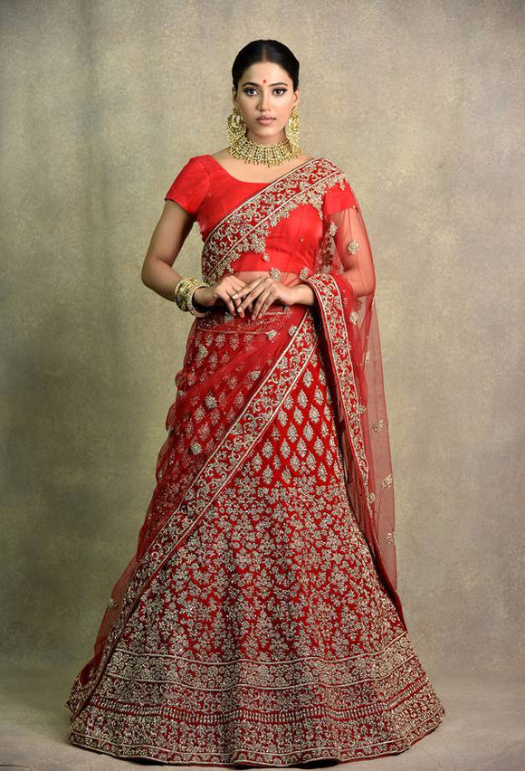 HEAVY ZARI AND ZARDOSI WORK BRIDAL LEHENGA