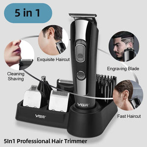 5 In 1 Hair Grooming Kit Nose Hair Trimmer Hair Cutting Kit Set