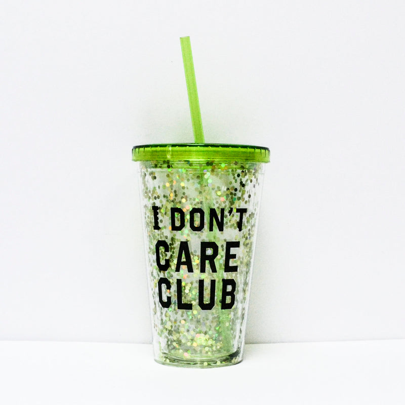 "Pahar Cu Capac Detasabil Si Pai ""I Don't Care Club"""