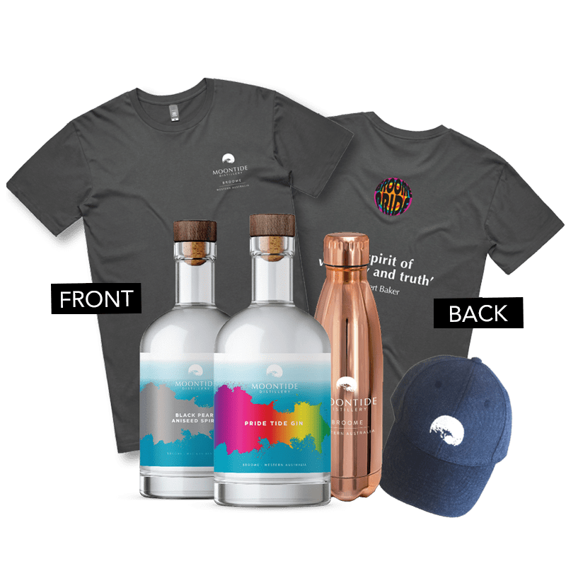 Offer 5 Pride Tide Gin + Black Pearl Aniseed Spirit + Water Bottle + T-Shirt + Cap