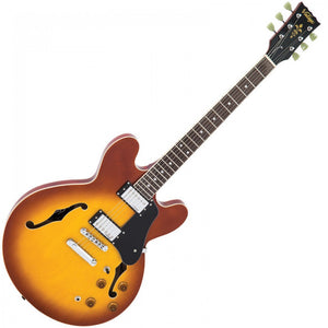 Vintage VSA500HB Semi Hollow Acoustic Electric Guitar – Honeyburst | Electric Guitar