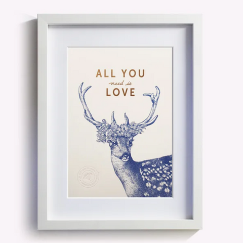 "Boutique iTEMS - Affiche ""All you need is love"" de la marque française Les Editions du Paon."
