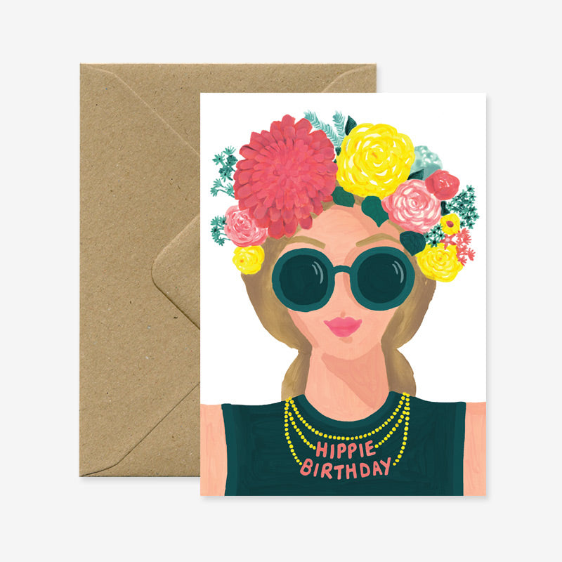 "Boutique iTEMS - Carte postale ""Hippie Birthday"" de la marque française All the Ways to Say."