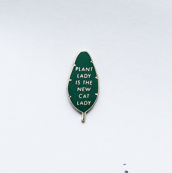 Hemleva Plant lady Is the new cat lady enamel pin