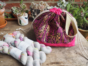 Made to order - Botanical yarn project bag pink & gold leaves