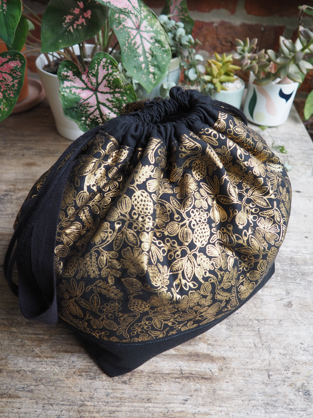 Made to order - Botanical yarn black & gold floral project bag