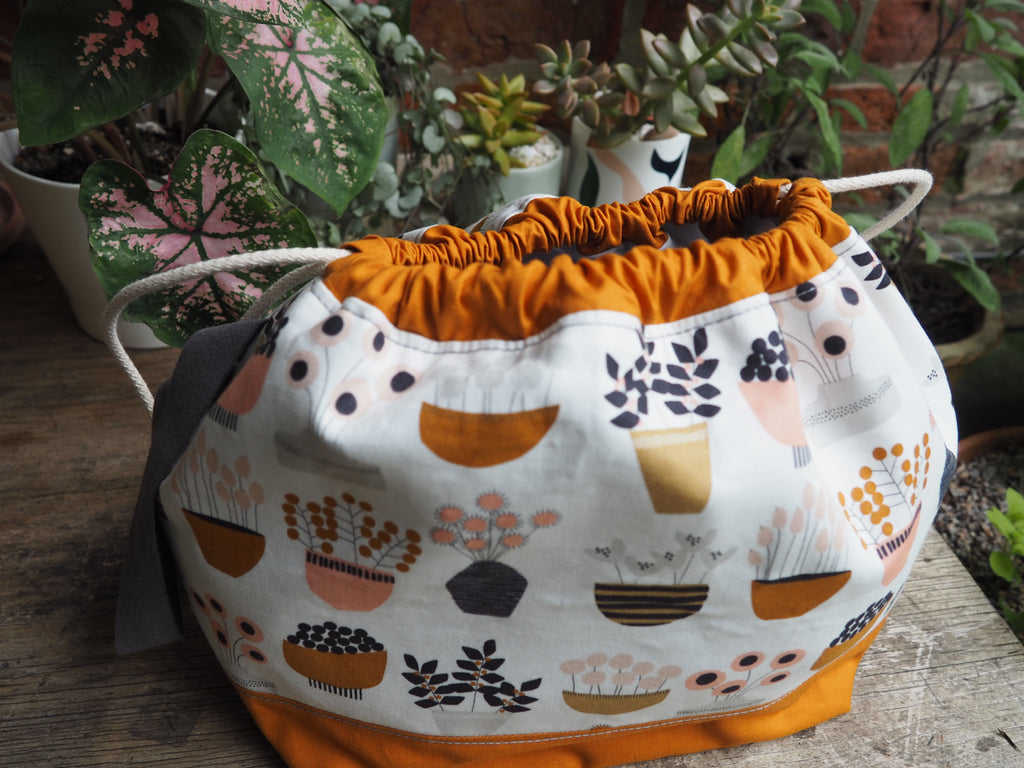 Made to order - Botanical yarn plant pot project bag
