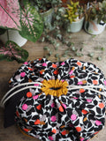 Made to order - Botanical yarn - Project bag style 01 -  black, mustard & pink spots
