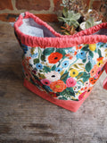 Made to order - Botanical yarn - Project bag style 01 -  bright floral