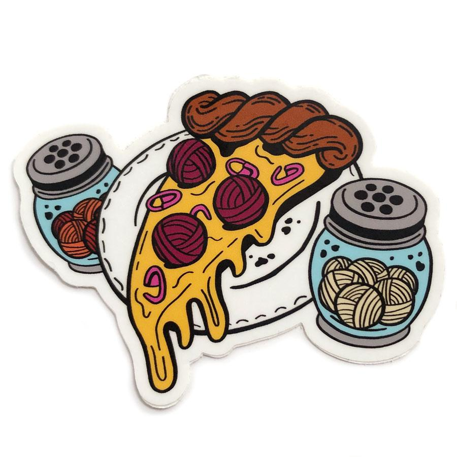 Shelli can Pizza my heart vinyl sticker