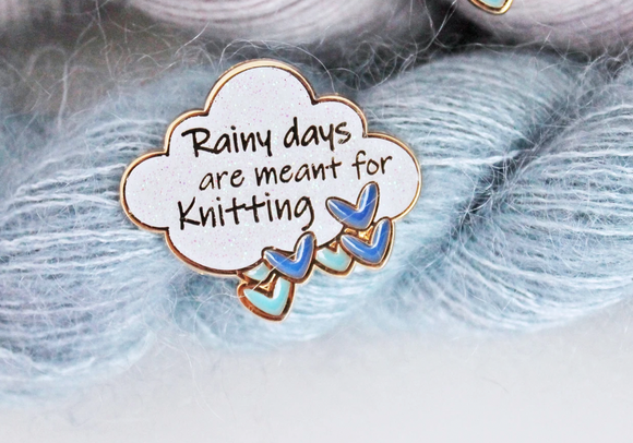 Twill & Print -Rainy Days are meant for knitting Enamel Pin