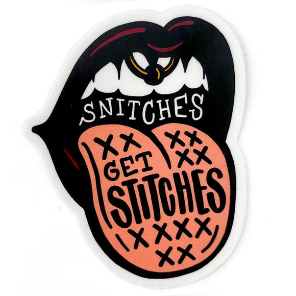 Shelli can snitches get stitches sticker