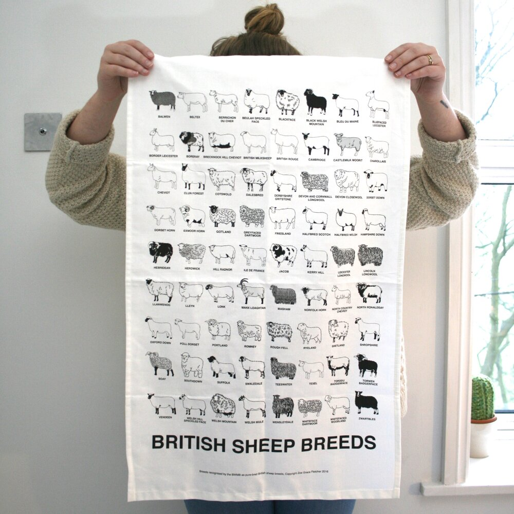 The Woolist - British sheep breed tea towel
