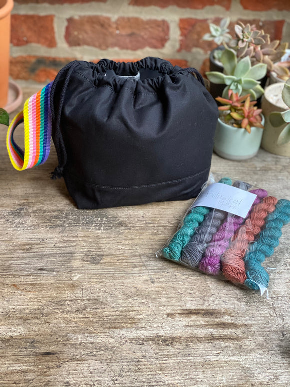 Made to order - Botanical yarn project bag black rainbow stripe handle