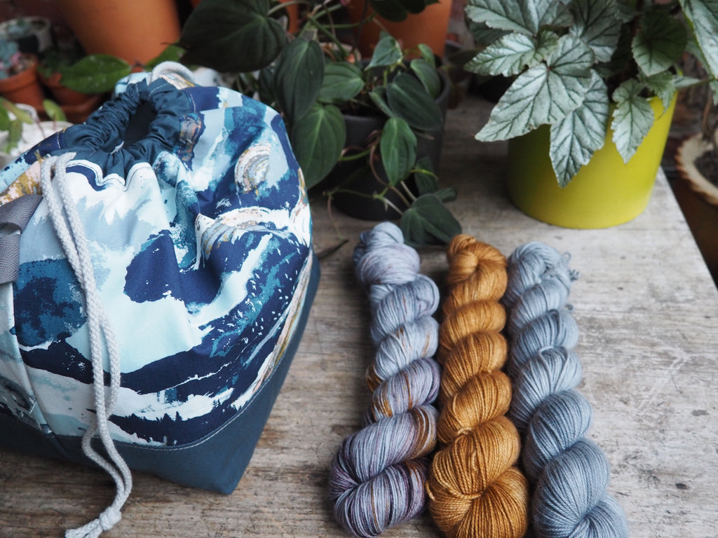 Made to order - Botanical yarn project dark blue landscape