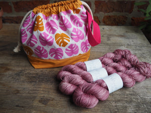 Made to order - Botanical yarn project bag pink monstera